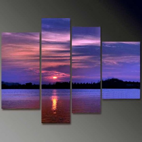 Modern Contemporary oil paintings on Canvas sunset glow painting set 665