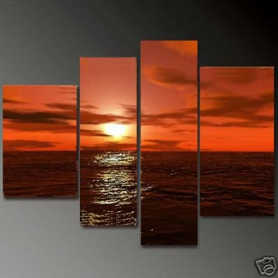 Modern Contemporary oil paintings on Canvas sunset glow painting set 670
