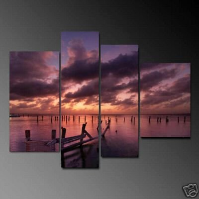 Modern Contemporary oil paintings on Canvas sunset glow painting set 691