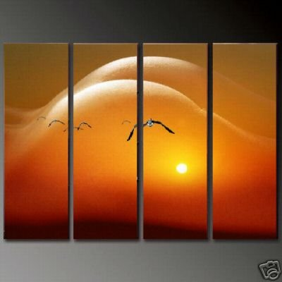 Modern Contemporary oil paintings on Canvas sunset glow painting set 702
