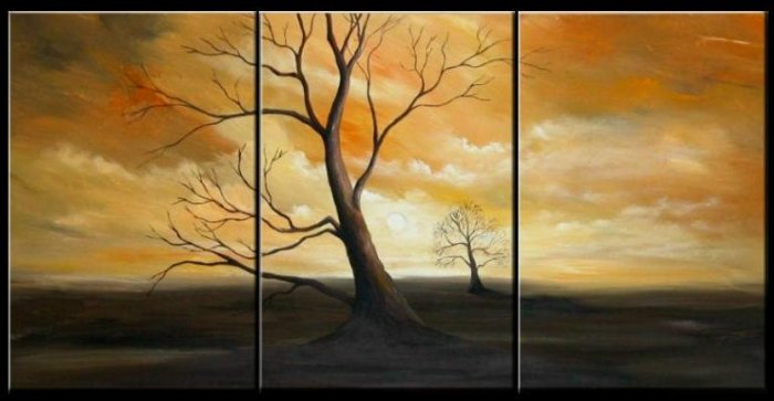 Modern Contemporary oil paintings on Canvas tree painting set 105