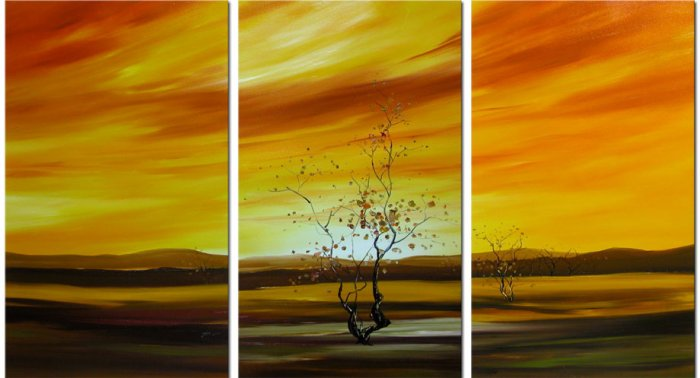 Modern Contemporary oil paintings on Canvas tree painting set 140