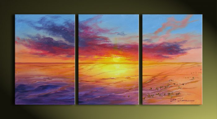 Modern Contemporary oil paintings on Canvas sunset glow painting set 272