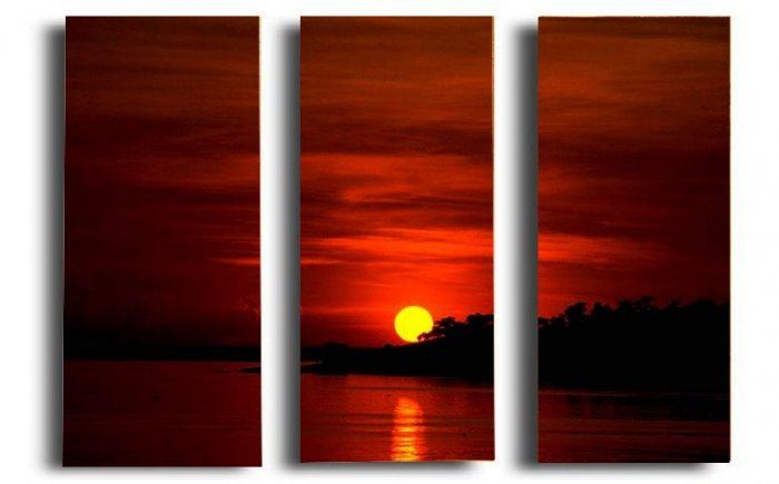Modern Contemporary oil paintings on Canvas sunset glow painting set 278