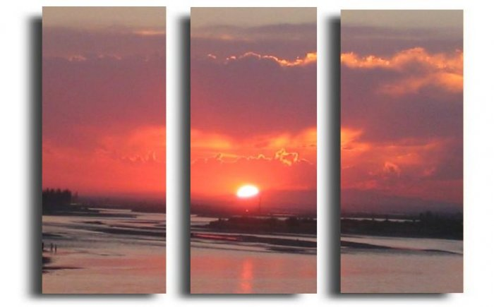 Modern Contemporary oil paintings on Canvas sunset glow painting set 288