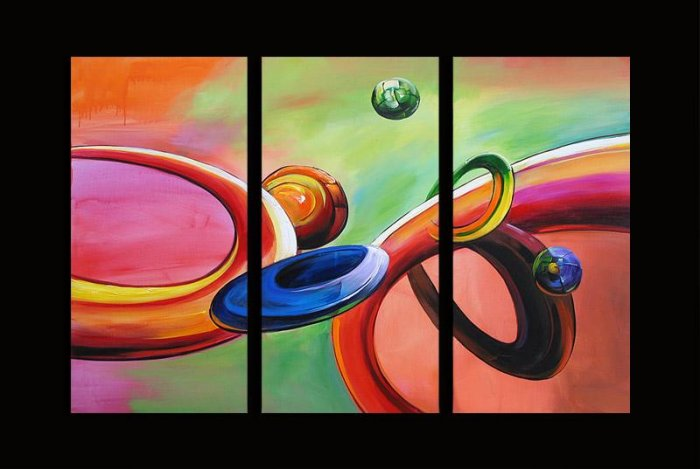 Modern Contemporary oil paintings on Canvas abstract painting set 293