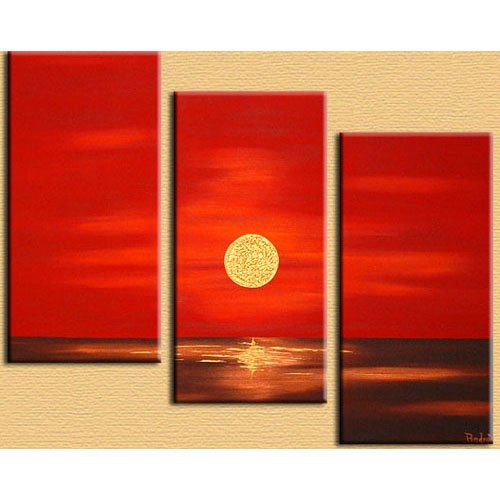 Modern Contemporary oil paintings on Canvas sun rise painting set 300