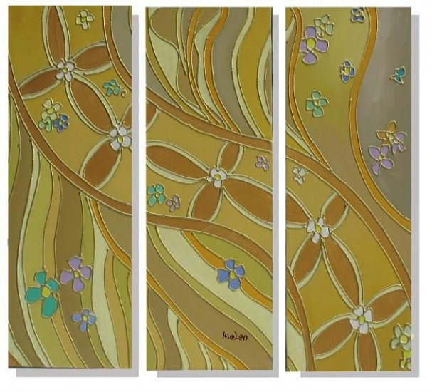 Modern Contemporary oil paintings on Canvas flower painting set 323