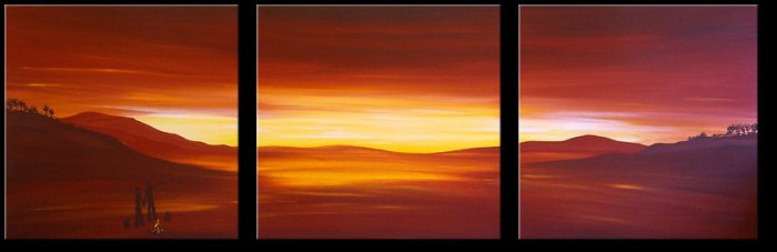 Modern Contemporary oil paintings on Canvas sunset glow painting set 328