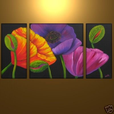 Modern Contemporary oil paintings on Canvas flower painting set 334
