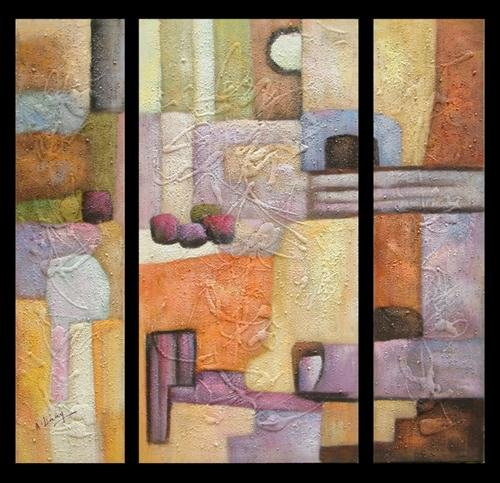 Modern Contemporary oil paintings on Canvas abstract painting set 343