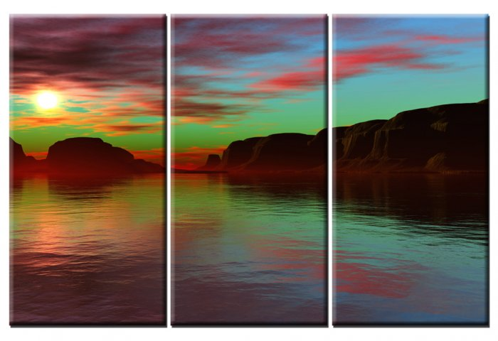Modern Art Deco oil paintings on Canvas sunset glow painting set 391