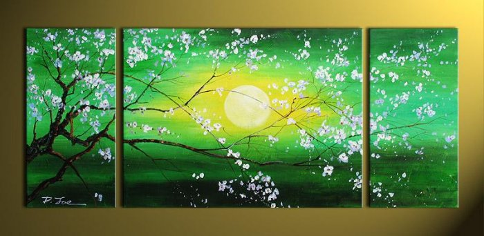 Modern Art Deco oil paintings on Canvas flower painting set 393