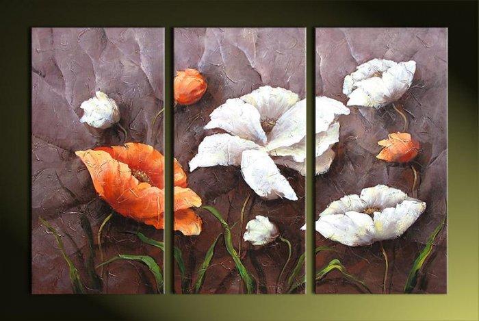 Modern Art Deco oil paintings on Canvas flower painting set 394