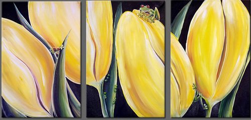Modern Art Deco oil paintings on Canvas flower painting set 402