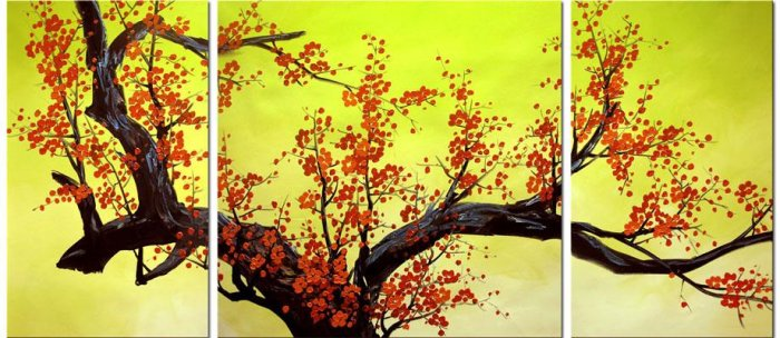 Modern Art Deco oil paintings on Canvas flower painting set 418