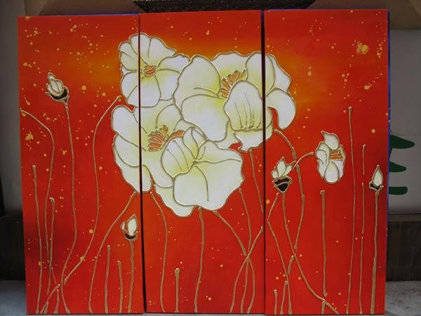 Modern Art Deco oil paintings on Canvas flower painting set 435