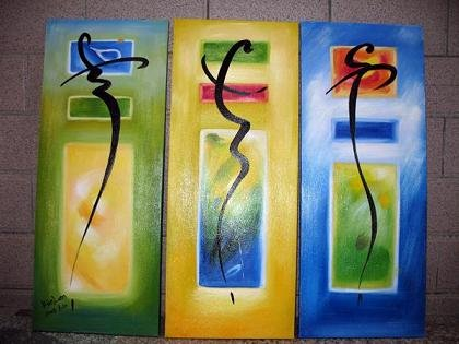 Modern Art Deco oil paintings on Canvas abstract painting set 447