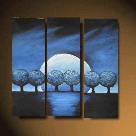Modern Art Deco oil paintings on Canvas tree painting set 510