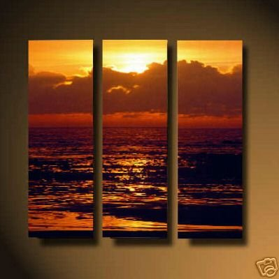 Modern Art Deco oil paintings on Canvas sunset glow painting set 549