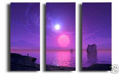 Modern Art Deco oil paintings on Canvas sun and moon painting set 597
