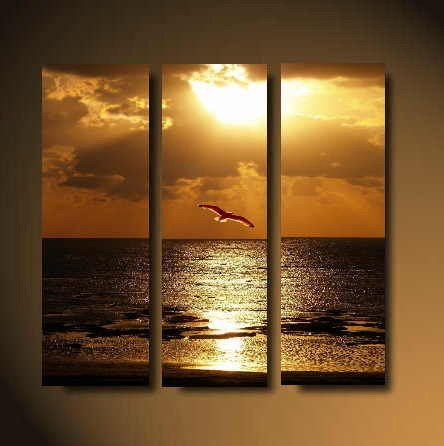 Modern Art Deco oil paintings on Canvas seascape painting set 613