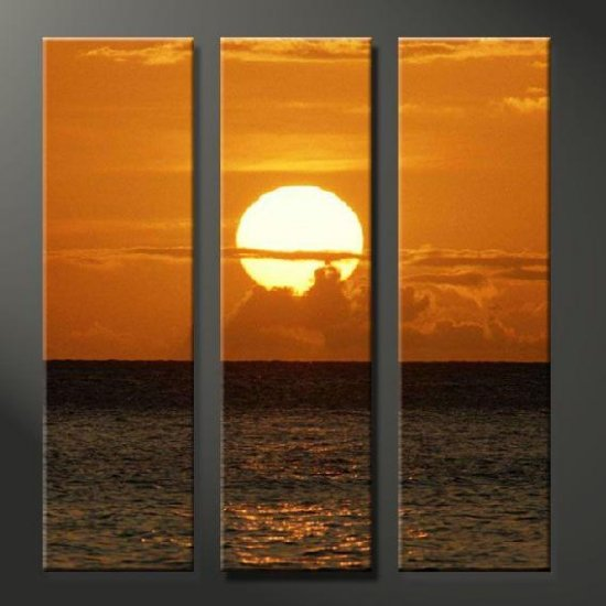 Modern Art Deco oil paintings on Canvas sunset glow painting set 636