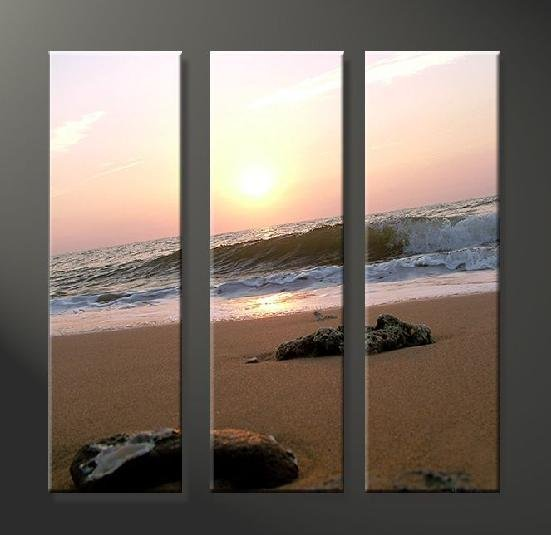 Modern Art Deco oil paintings on Canvas sunset glow painting set 637