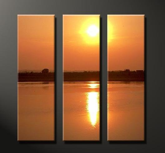 Modern Art Deco oil paintings on Canvas sunset glow painting set 638