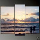 Modern Art Deco oil paintings on Canvas seascape painting set 672