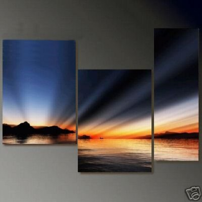 Modern Art Deco oil paintings on Canvas sunset glow painting set 693