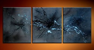 100% handmade Art deco Modern abstract oil paintings on Canvas set 09003