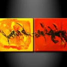 100% handmade Art deco Modern abstract oil paintings on Canvas set 09004