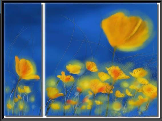 100% handmade Art deco Modern flower oil paintings on Canvas set 09007