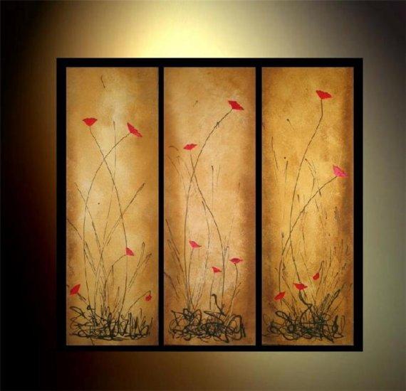 100% handmade Art deco Modern flower oil paintings on Canvas set 09013