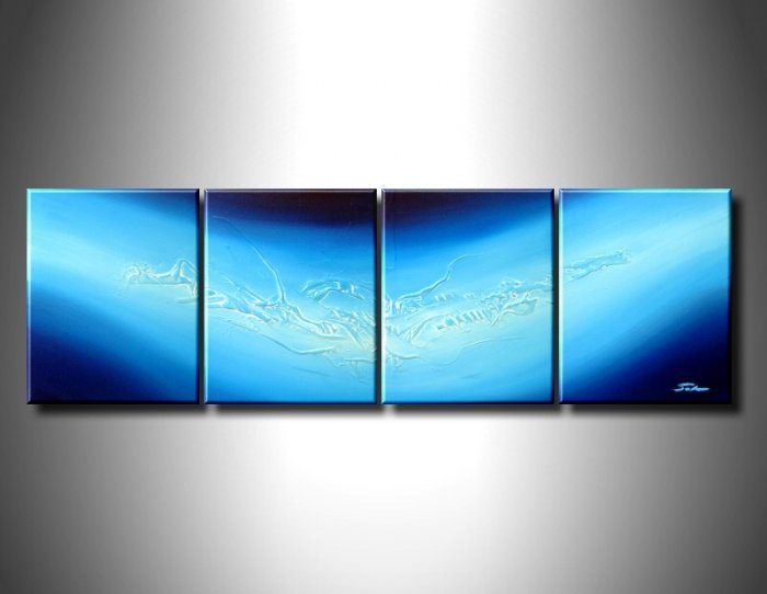 100% handmade Art deco Modern abstract oil paintings on Canvas set 09021