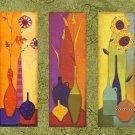 100% handmade Art deco Modern flower oil paintings on Canvas set 09023