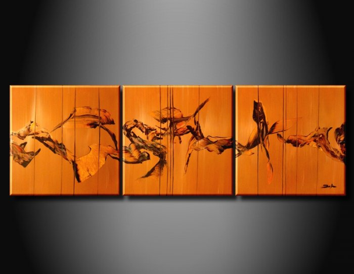 100% handmade Art deco Modern abstract oil paintings on Canvas set 09024