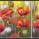 100% handmade Art deco Modern flower oil paintings on Canvas set 09025