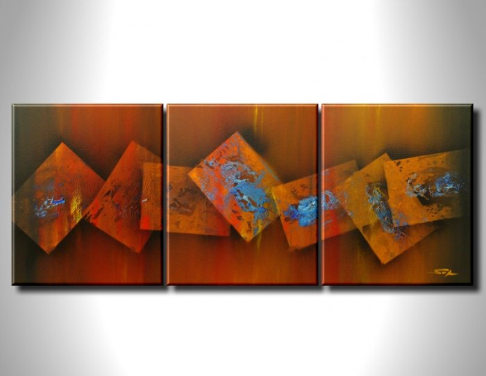 100% handmade Art deco Modern abstract oil paintings on Canvas set 09026