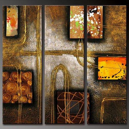 100% handmade Art deco Modern abstract oil paintings on Canvas set 09027