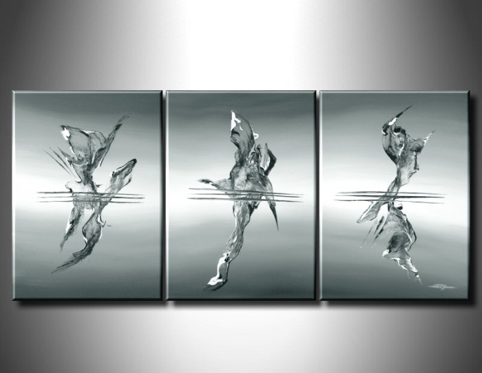 100% handmade Art deco Modern abstract oil paintings on Canvas set 09028