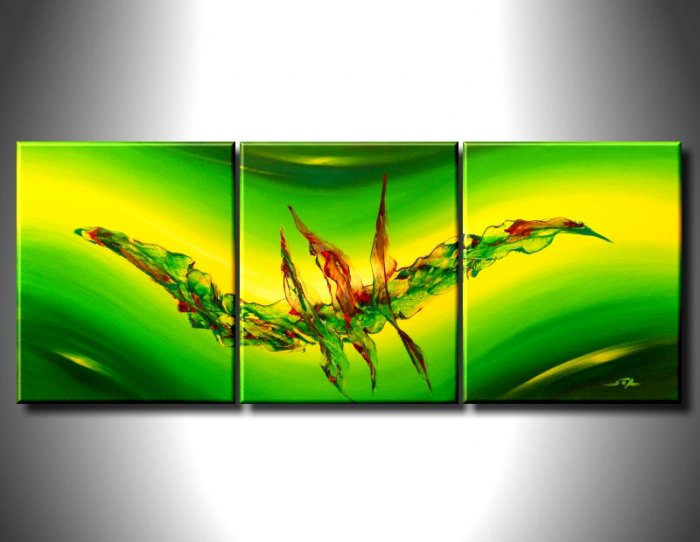 100% handmade Art deco Modern abstract oil paintings on Canvas set 09029