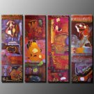 Handmade Art deco Modern abstract oil painting on Canvas set 09033
