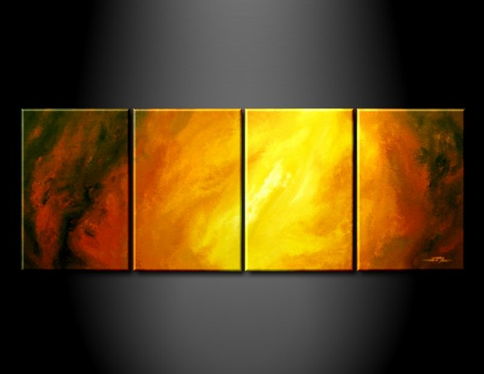 Handmade Art deco Modern abstract oil painting on Canvas set 09035