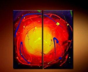 Handmade Art deco Modern abstract oil painting on Canvas set 09036