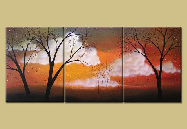 Handmade Art deco Modern tree oil painting on Canvas set 09039