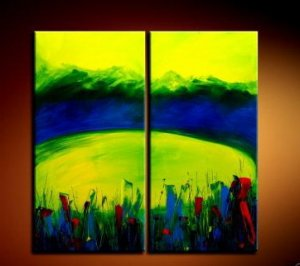 Handmade Art deco Modern abstract oil painting on Canvas set 09045