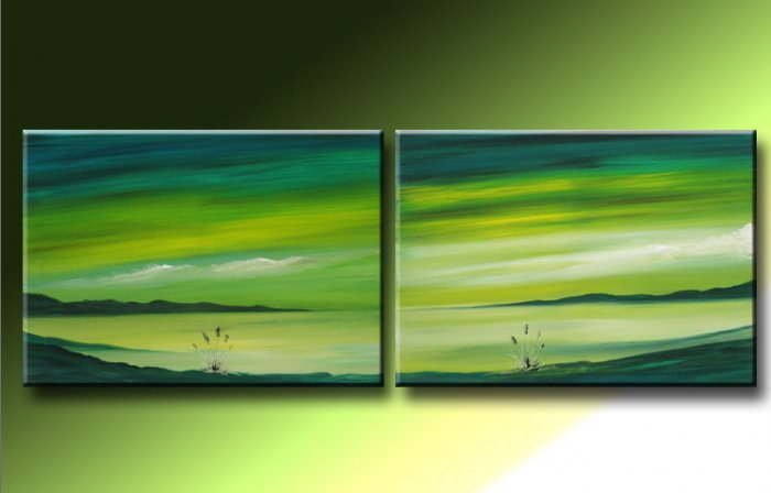 Handmade Art deco Modern abstract oil painting on Canvas set 09049