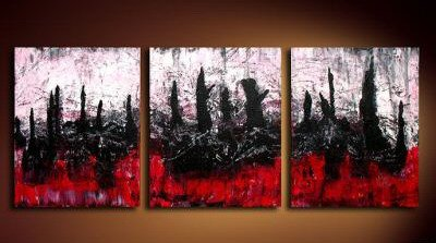 Handmade Art deco Modern abstract oil painting on Canvas set 09051